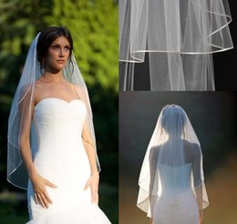 "Wholesale Double Layer Veils - 2016 Short Fingertip veil with blusher double tier fingertip veil with 1 8"" corded satin trim satin cord trim Bridal veils ivory veils"