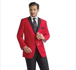 Canada Veste rouge et pantalon noir Tuxedos Groomsmen costumes de mariage pour hommes Costumes meilleur homme vêtements de bal Offre