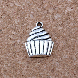 Wholesale Jewelry Pendant Cakes - MIC .100pcs  lot Antique silver Alloy Single-sided Cupcake Dessert Food Cake Charms Pendant 14.5x20mm DIY Jewelry A-127
