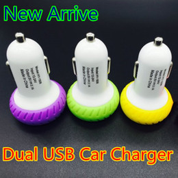 Wholesale Port Designs - Dual USB Car Charger Adapter Tire Design Bullet Double USB 2-Port for iphone 6 6s Samsung S6 Edge S5 HTC Blackberry