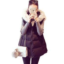 Wholesale Down Vest Fur Collar - Wholesale-3XL-4XLWomen Winter plus size Cotton padded Waistcoat,female artificial fur collar thickening down wadded medium-long Vest
