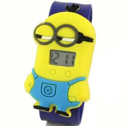 Wholesale Gel Led Watches - 2015 new arrival Minion Cartoon Gel Child Quartz Kids Slap On Wrist Watch Unique Xmas Gift