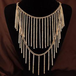 Wholesale Double Tassel Necklace - 2015 Simple European Collar New Fashion Vintage Punk Gold Double Layer Chain Tassel Pendant Choker Necklace Chain Charm Jewelry Women