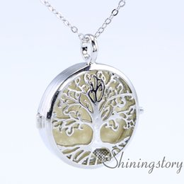 Wholesale Small Plate For Necklace - tree of life silver locket necklace for essential oils aromatherapy jewelry a locket necklace jewelry diffusers small locket necklace