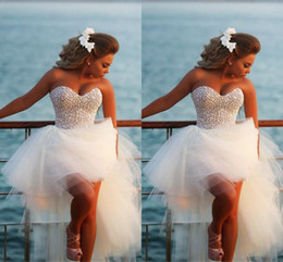Wholesale Corset Pearl Wedding Dresses - Exquisite Pearl Hi-Lo Short Beach Wedding Dresses 2015 Casomento Sexy Corset Beaded Sweetheart High Low Bridal Gowns