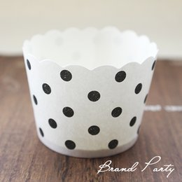 Wholesale Wholesale White Cupcake Wrappers - Black and white dots bulk 100pcs lot High temperature baking greaseproof paper cupcake liners cases wrappers free shipping