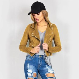 Wholesale Ladies Leather Coats Wholesale - Wholesale- New Fashion Women Suede Jacket Black Brown Faux Leather Jackets Lady Bomber Motorcycle Cool Outerwear Coat