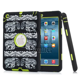 Wholesale Ipad Mini Case Animal Print - DHL Free Relief Elephant Extreme Military Survival Silicone Shockproof Cover Heavy Dust Shock Proof Case Cover For iPad mini 123 50Pcs