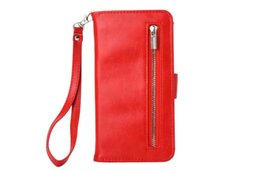 Iphone 5s hülle kartenhalter online-New Wallet Zipper Leder Wristlet Case für iPhone 6 6s 7 7 Plus 5 5s Fall Cash Pouch Kartensteckplätze Inhaber Schutzhülle