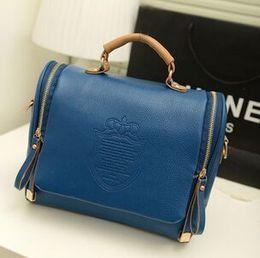 Wholesale Double Shoulder Handbag - 2015 new Korean version of the British Crown double pull fashion portable shoulder bag Messenger bag retro handbags