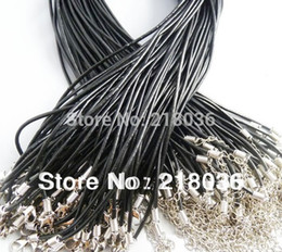 Wholesale European Bead Choker - 100PCS Real Choker Leather Black Cord Statement For Women Necklace Fit European Beads Charms Girls Bijoux 24 inches DIY Jewelry M2037