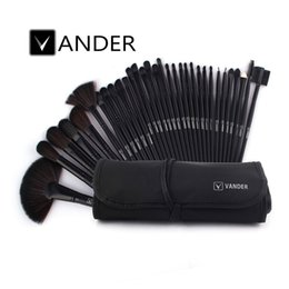 Wholesale Professional 32pcs - VANDER 32Pcs Professional Makeup Brushes Eyebrow Shadows Make Up Cosmetic Brush Set Kit Tool + Roll Up Case USA Stolck Free Drop Ship