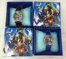 Wholesale Gift Boxed Watches For Children - The Avenger logo Watches 10pcs Lot Leather Quartz Cartoon Watch for Boy Kids Children Watches with Gift Box montre enfant
