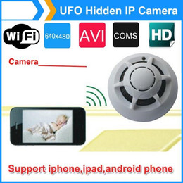 Wholesale Smoke Detector Video Recorder - Spy Smoke Detector UFO HD WiFi IP Camera Hidden Cam DVR Video Recorder P2P for iPhone ipad Android phone
