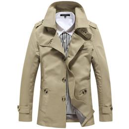 Корейский длинный плащ онлайн-Fall- Hot Sale Mens  New Korean Long Trench,Male Autumn Jackets and Coat,Cotton Outwear M-XXXXXL