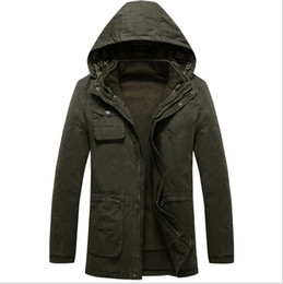 Wholesale Mens Winter Parkas - Fall-Winter Jacket Mens Hooded Military 2015 New Mens Long Winter Coats Hood Warms Down-Jacket Cotton Parka Men 3 Colors
