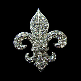Wholesale Diamante Gold Heart - Top Fashion Jewelry 2 Inch Rhodium Silver Vintage Style Fleur De Lis Rhinestone Diamante Party Brooch with a Pin