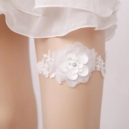 Wholesale Ladies Garter Belts - New Women Wedding White Garter For Bride Hand Made Big Flower Wedding Leg Garter Belt For Ladies
