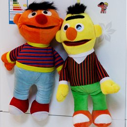 Wholesale Bert Ernie Plush - Wholesale-2pcs lot Cartoon Plush Toys Sesame Street Ernie And Bert Creative Doll Stuffed Toy Super Quality Free Shipping