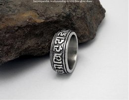 Wholesale Trend Fashion China Wholesale - Male Stainless Steel Ring Retro Fashion Steel Titanium Jewelry Six Words Titanium Steel Club Trend Character Free Shipping Unique Design