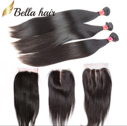 Wholesale Wholesale Unprocessed Weave - Hair Weaves with Closure Indian Peruvian Malaysian Brazilian Hair Unprocessed Human Hair Weave Black Silky Straight Bella Hair Bundles