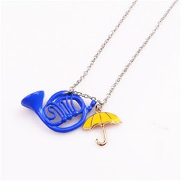 Wholesale umbrella charms - How I Met Your Mother Yellow Umbrella mother Blue French Horn Necklace Pendant best Christmas gifts