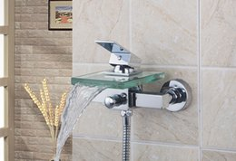 Wholesale Glass Mount Shower Tap - Bath & Shower Faucets 8200 7 Square Wall Mounted Waterfall Glass Spout Bathroom Bath Handheld Shower Tap Mixer Bathtub Faucet