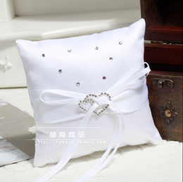 Wholesale Rhinestone Pillow For Wedding - Ribbon White rhinestone Crystal Hear Style Ring Pillows Romantic Wedding Bridal And Groom Pillows For Ring
