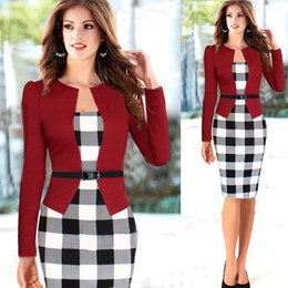 Wholesale Square Plus Size Clothing - Fashion Women Casual Dress Plaid Pencil Dresses for OL Work Suits Slim Elegant Women's Clothing free shipping