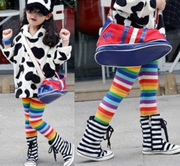 Wholesale Tights Color Stripes - Girls warm leggings children colorful stripe thicken pants tight pants kids popular winter trousers winter clothing