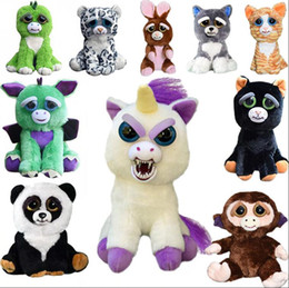 Wholesale Plastic Face Doll - Feisty Pets Plush 22cm One Second Change Face Animal Plush Toys Cute Expression Kids Stuffed Doll 13 Styles 20pcs OOA3486