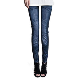 Wholesale Winter Print Fleece Leggings - 2pcs lot wholesale 2016 Fashion Winter Faux Jeans Leggins Women Skinny Printed Pattern Fleece Leggings Elastic Slim Pencil Pants
