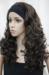 Wholesale Half Wig Pieces - Wholesale free shipping >>>> with headband hair piece brown curly wavy long women's half wig
