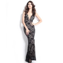 Wholesale Tube Dress One Piece - Black Lace Nude Illusion Plunging V Neck Strapless Gown prom fashion one-piece dress tube top V-neck lace embroidered dress tank