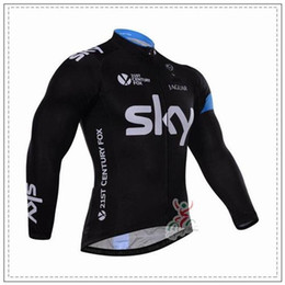 Wholesale Cheap Long Sleeve Thermal Men - cheap Sky Cycling Jersey Sets Long Sleeve Winter Thermal Fleece Bib None Bib Set Cyclling Jerseys High Elastic Warmer Men Bicycle Cloth
