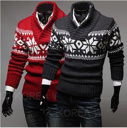 Wholesale Snowflake Blue - New Fashion Mens Sweater Clothes Casual V-Neck Snowflake Jacquard Design