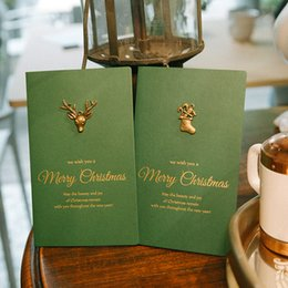 Wholesale Green Greeting Cards - Luxury Christmas Cards Best Christmas Gift 4 Sytle Exquisite Gilding Greeting Card with Envelope for Familiers and Friends