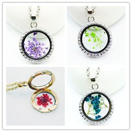 Wholesale Round Glass Pendant Opens - Dried flowers Transparent Glass Round Crystal Pendant Locket necklace can open Mix style Gold plated multicolor pendant for woman gift FL11