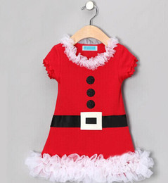 Wholesale Costume Infant - new 2014 merry christmas dress baby christmas dress costumes girl belt button print lace infant dress Santa Claus dress short sleeve tutu