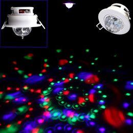 Wholesale Ceiling Light Hooks - Wholesale-Hooks Design 3W Full Color LED Voice-activated Rotating RGB Ceiling Stage Light DJ Disco KTV Lamp