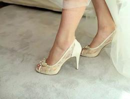 2019 zapatos de boda de tacón bajo de plata de diamantes de imitación Marfil hermoso Vogue encaje cristal 10cm tacones altos boda zapatos nupciales