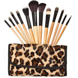 Wholesale Leopard Plastic Bags - Woman Professional 12 PCs Brush Cosmetic Make Up Tool Set With Leopard Case Bag Kit Fashion Stock Ready