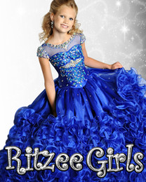 Wholesale Christmas Corset Dress - Royal blue pink crystals organza puffy Glitz pageant dress ruffles Flower Girl Dress corset back short sleeves little girl prom dresses