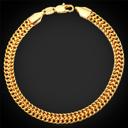 Wholesale Stamp Brass - Men's 18K Stamp Gold Chain for Men Jewelry Fancy Bracelet Design Gold Plated New Fashion Chain Bracelet