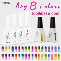 Wholesale Top Coat Nail Polish Wholesale - New Arrival Azure Nail Gel Set Any-8-Colors+1pair top and base coat Soak Off LED Lamp Gel Special Base Coat Top Coat Reinforced Gel f