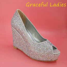 Wholesale Crystal Wedge Wedding Shoes - Silver Rhinestone Wedding Shoes Wedge Peep Toe 2015 Crystals Custom Made Women Pumps Platform Party High Heels Silver Gold Available