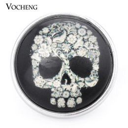 Wholesale Black Skull Glasses - VOCHENG NOOSA 18mm Skull Black Glass Ginger Snap Jewelry Vn-998
