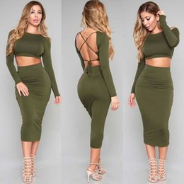 Wholesale Sexy Women Military - Military Dress 2016 2 Piece Set Women Two Piece Outfits Bandage Bodycon Dresses Long Sleeve Robe Sexy Backless Vestidos Clothing