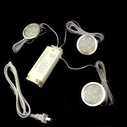 Wholesale 12v Surface Mount Led - 3PCS 1.8W LED Under Kitchen Cabinet Lights Round Downlights + 1PC 12V 2A 24W Ulta-thin LED Power Supply + 1PC EU US Power Cord Plug
