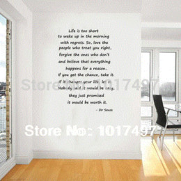 Wholesale Dr Seuss Quotes Wall Decals - Home Decor Wall Sticker Large size dr seuss quotes Life is too short... Inspirational Wall Quotes Art Decal Vinyl Decal Stickers free